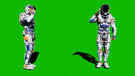 Cosmonaut-soldier of the future salutes in front of the green screen. 3D Rendering
