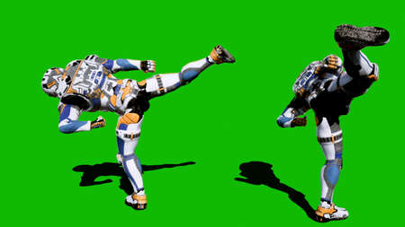 Cosmonaut-soldier of the future fights in front of the green screen. 3D Rendering