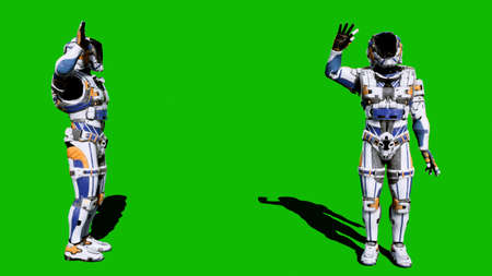 The astronaut-soldier of the future waved his hand in front of the green screen. 3D Rendering Фото со стока