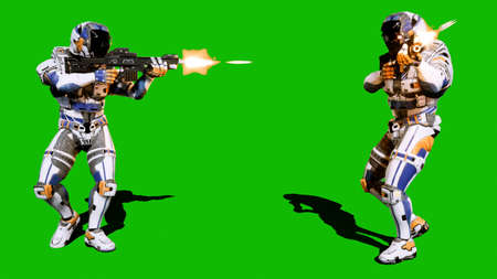 A lone soldier of the future attacks the enemy on the background of the green screen. 3D Rendering