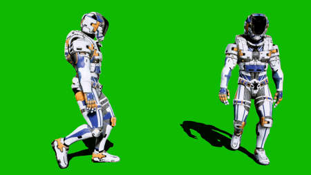 A lone soldier of the future walking on a green screen background. 3D Rendering