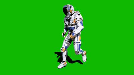 Astronauta-soldado del futuro, bailando frente a una pantalla verde. Representación 3D