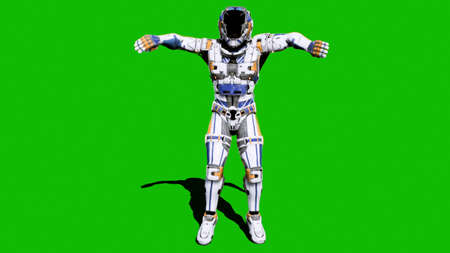 Astronaut-soldier of the future, dancing in front of a green screen. 3D Rendering