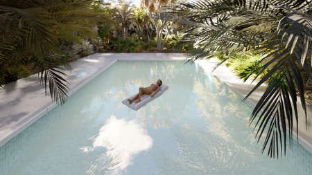 Beautiful swimming pool with bathing people, on a lost tropical island on a clear Sunny day. 3D Rendering Imagens