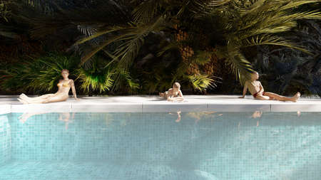 Beautiful swimming pool with bathing people, on a lost tropical island on a clear Sunny day. 3D Rendering Фото со стока