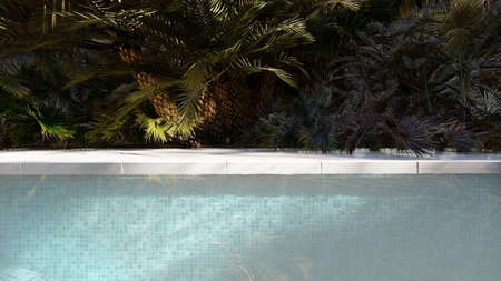 Beautiful swimming pool on a lost tropical island on a clear Sunny day. 3D Rendering