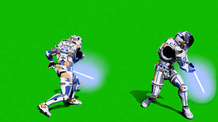 Astronaut-soldier of the future fighting with a lightsaber in front of a green screen. 3D Rendering