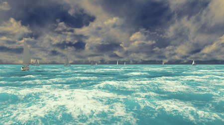 View of the blue ocean with sailboats on a Sunny summer day. Summer stage. 3D Rendering