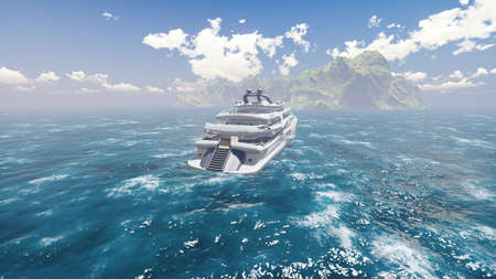 View from the air on a luxury high-speed ocean boat sailing to an uninhabited island. 3D Rendering