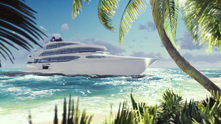 Luxury modern yacht in the sea at sunset. A modern yacht moored near a deserted tropical island. 3D Rendering
