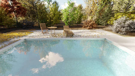 The camera flies past the pool in autumn on a clear Sunny day. 3D Rendering Imagens