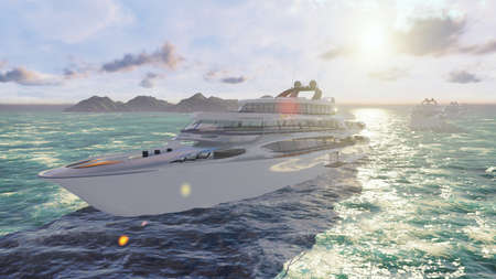 View from the air on a luxury high-speed ocean boat sailing. 3D Rendering