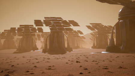 Giant solar panels on the surface of Mars during a dust storm. Panoramic landscape on the surface of Mars. 3D Rendering