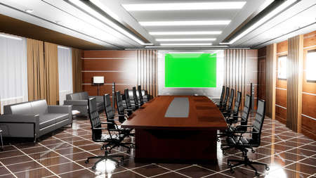 Upscale modern empty office with wooden floors, Desk, armchairs and TV panel with green screen.