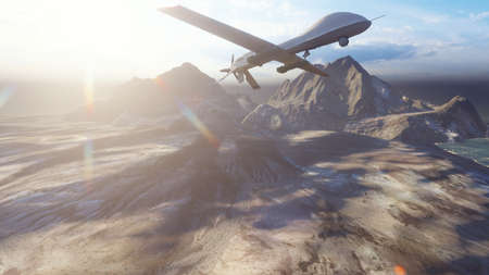 A military drone flies over a deserted plain on a Sunny day.