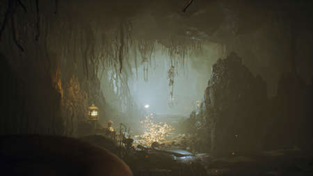 Ancient huge fantasy cave filled with ancient mushrooms and magical fog with dust. Фото со стока