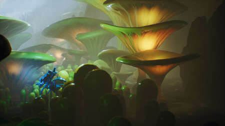 Fantasy mushrooms in a magic forest. Beautiful magic mushrooms in the lost forest and fireflies on the background with the fog. Фото со стока - 122594814