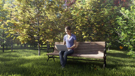Autumn color Park. View of colorful autumn trees on a Sunny autumn day. Girl sitting with a laptop on a bench in the Park. By flying autumn leaves. 3D Rendering Фото со стока - 122594894