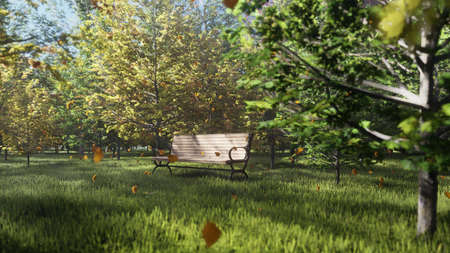 Autumn Color Park. View of colorful autumn trees on a Sunny autumn day. A lonely Park bench. Fly autumn leaves. 3D Rendering