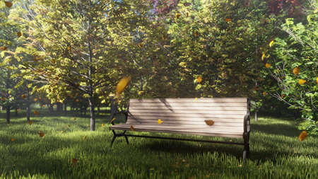 Autumn Color Park. View of colorful autumn trees on a Sunny autumn day. A lonely Park bench. Fly autumn leaves. 3D Rendering Фото со стока - 122595050