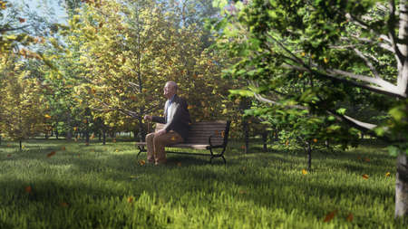 Autumn Color Park. View of colorful autumn trees on a Sunny autumn day. Old grandpa is sitting on a Park bench. Fly autumn leaves. 3D Rendering