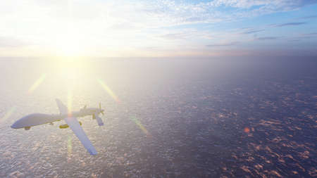Military drone flies over the ocean at sunrise. The concept of military weapons. 3D Rendering