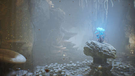 Fantastic green mushrooms and magic blue flower in a amazing cave. Beautiful magic mushrooms in the fantasy cave and fireflies with the fog. 3D Rendering