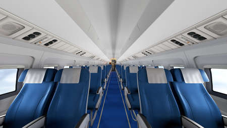 Interior of modern airplane with passengers on seats. Empty airplane seats in modern airplane interior. 3D Rendering