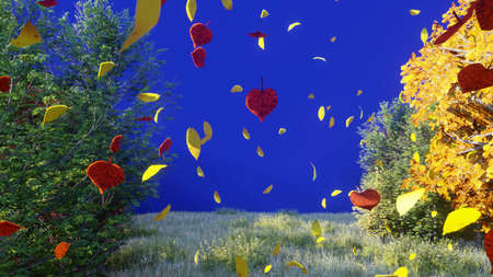 Autumn leaves fall from trees in autumn Park. Autumn colorful Park on a Sunny day in front of a blue screen. 3D Rendering