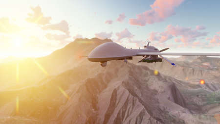A military drone flies over a deserted plain on a Sunny day. 3D Rendering