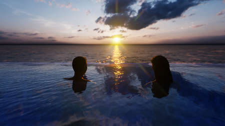 Beautiful swimming pool with bathing man and woman at sunset, on a lost tropical island. 3D Rendering