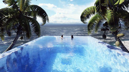 Beautiful swimming pool with bathing man and woman at sunny day, on a lost tropical island. 3D Rendering Imagens