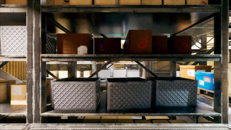 The camera flies through a huge industrial warehouse with boxes. A large logistics terminal. 3D Rendering Фото со стока