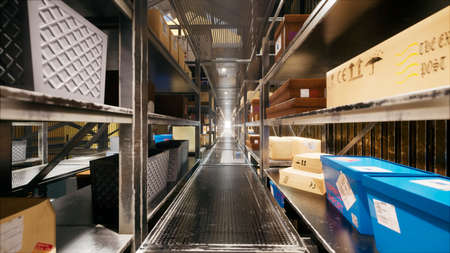 The camera flies through a huge industrial warehouse with boxes. A large logistics terminal. 3D Rendering Imagens