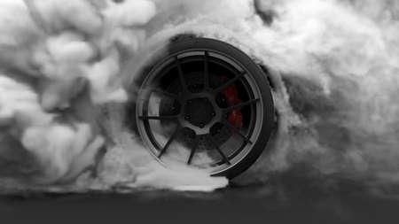 L'épuisement des pneus. Caoutchouc brûlant et pneu fumeur avec une roue rotative avec une épaisse fumée sur fond sombre. Rendu 3D
