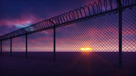 Through a metal prison fence with barbed wire visible clouds and a disturbing sunset. 3D Rendering