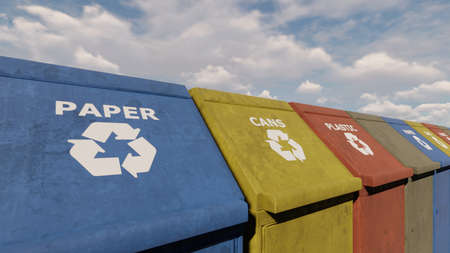 Eco-friendly Colorful Recycling Bins for different garbage In the City Park on a Sunny day. 3D Rendering