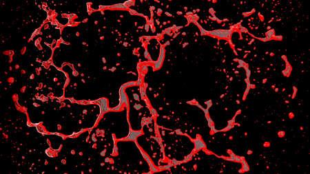 Streams of splashing organic blood. 3D Rendering.