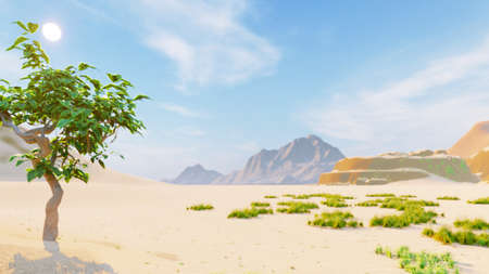 Desert horizon. Clear day. Mountains in the distance, sand dunes and blue sky. Beautiful scenery. Sand dunes and hot sky. Sand dunes and cacti. 3D Rendering Фото со стока - 126583232