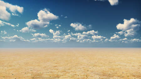 Desert horizon. Clear day. Mountains in the distance, sand dunes and blue sky. Beautiful scenery. Sand dunes and hot sky. Sand dunes and clouds. 3D Rendering