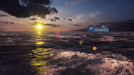 Luxury cruise ship sailing from the port at sunrise across the ocean. Beautiful summer background. 3D Rendering Фото со стока - 126583265