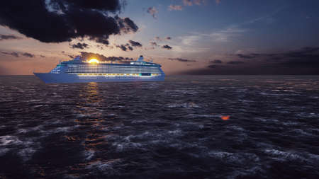 Luxury cruise ship sailing from the port at sunrise across the ocean. Beautiful summer background. 3D Rendering Фото со стока - 126583266