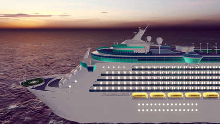 Luxury cruise ship sailing from the port at sunrise across the ocean. Beautiful summer background. 3D Rendering Фото со стока - 126583269