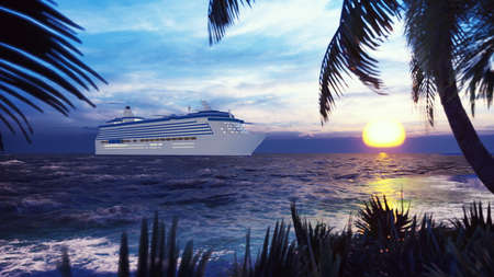 A luxury cruise ship docked near an island with palm trees and tropical plants in the wind at sunset. 3D Rendering Фото со стока - 126583270