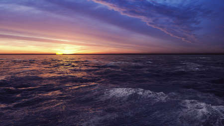 Scene of sunset and beautiful colorful sky and sea. 3D Rendering Фото со стока - 126583274