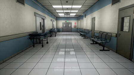 Empty hospital endless corridor. Empty corridor of the clinic. A long endless hallway with doors. The corridor of the medical center. 3D Rendering Фото со стока