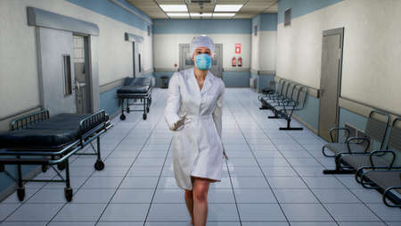 The nurse goes through the empty endless hospital corridor. A long endless corridor with doors. The corridor of the medical center. 3D Rendering