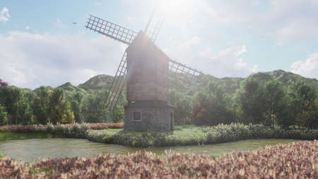 Traditional village windmill standing near the pond against the background of mountains and clouds. 3D Rendering Фото со стока - 126583318