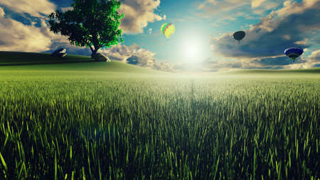 Hot air balloon flight at sunset over endless green fields. Beautiful nature and Summer landscape. 3D Rendering