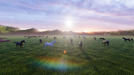A herd of young horses graze on a picturesque green meadow on a beautiful summer morning. 3D Rendering Фото со стока - 126583325